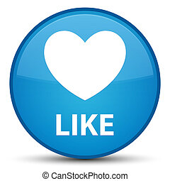 Like (heart icon) special cyan blue round button