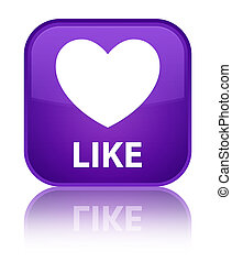 Like (heart icon) special purple square button