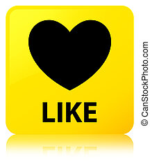 Like (heart icon) yellow square button