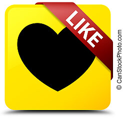 Like (heart icon) yellow square button red ribbon in corner