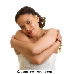 Like herself - Woman hugging herself