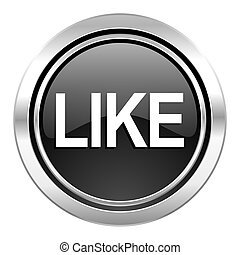 like icon, black chrome button