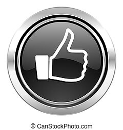 like icon, black chrome button, thumb up sign