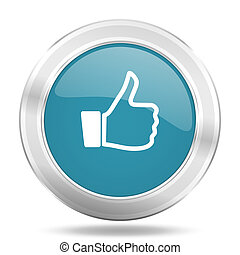 like icon, blue round glossy metallic button, web and mobile app design illustration