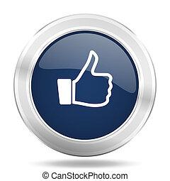 like icon, dark blue round metallic internet button, web and mobile app illustration