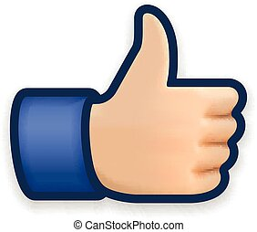 Like icon, emoji thumb up symbol, vector illustration.