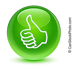 Like icon glassy green round button
