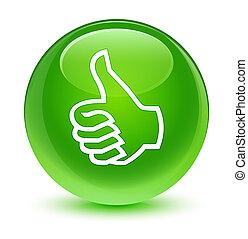 Like icon glassy green round button