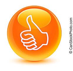 Like icon glassy orange round button