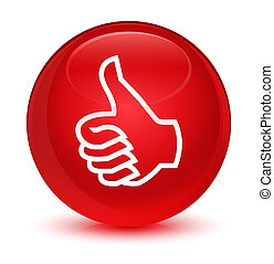 Like icon glassy red round button