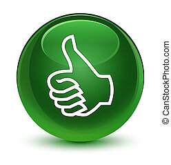 Like icon glassy soft green round button