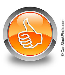 Like icon glossy orange round button