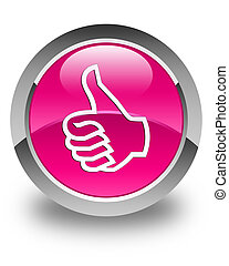 Like icon glossy pink round button