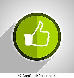 like icon, green circle flat design internet button, web and mobile app illustration