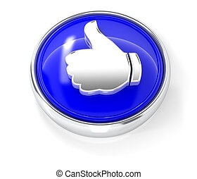 Like icon on glossy blue round button