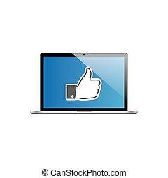 Like icon on laptop