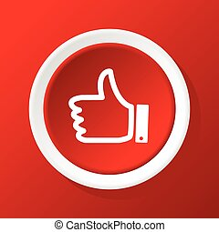 Vector round white icon with like symbol, on red background