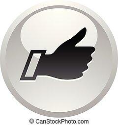 Like, icon on round gray button