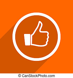 like icon. Orange flat button. Web and mobile app design illustration