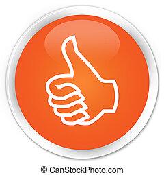 Like icon premium orange round button