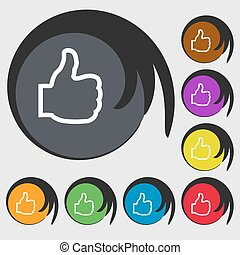 Like icon sign. Symbol on eight colored buttons. Vector