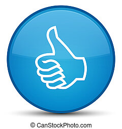 Like icon special cyan blue round button