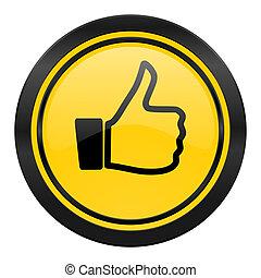 like icon, yellow logo, thumb up sign