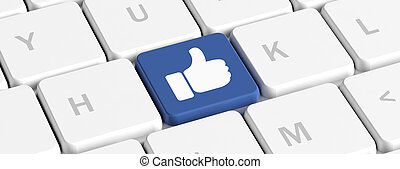 Like in social media, thumb up. Blue key button with hand on a computer keyboard, banner. 3d illustration