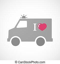 """, like"", isolado, furgon, ambulância, ícone, glyph"