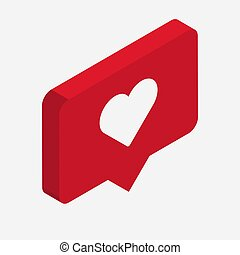 Like isometric Icon. 3d design with heart. Vector