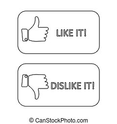 like it and dislike symbol line style button isolated