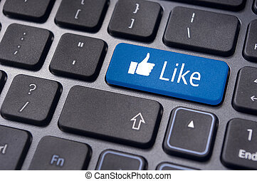 like message on keyboard button, social media concepts - A...