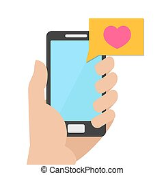 Like mobile concept. Hand holding a phone to which it was a letter with like. Vector Illustration