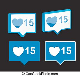 Like Notification Icon Vector Illustration