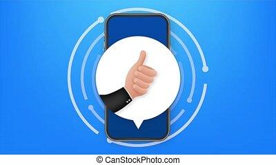 Like on Mobile feedback. smartphone screen. Web icon. Social network post. Social media like icon