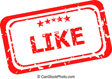 like on red rubber stamp over a white background