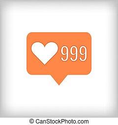 Like orange icon. 999 likes. Vector illustration