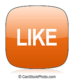 like orange square web design glossy icon