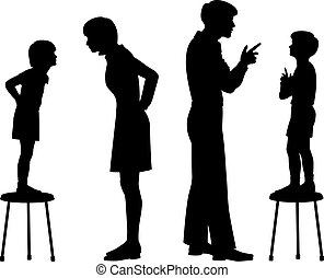 Like parent like child - Editable vector silhouettes of...