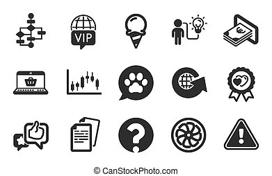 Like, Pets care and Online shopping icons set. Question mark, Love award and Candlestick graph signs. Vector