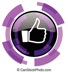 Like pink violet modern design vector web and smartphone icon. Round button in eps 10 isolated on white background.