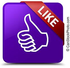 Like purple square button red ribbon in corner