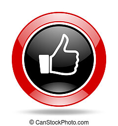 like red and black web glossy round icon