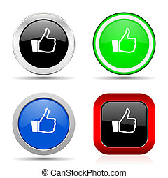 Like red, blue, green and black web glossy icon set in 4 options