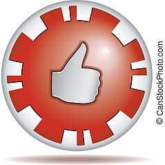 Like. Round button - Like. Big thumb up. Shiny red round...