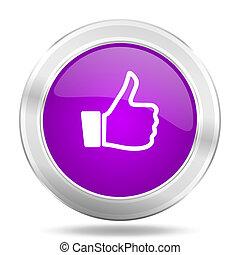like round glossy pink silver metallic icon, modern design web element