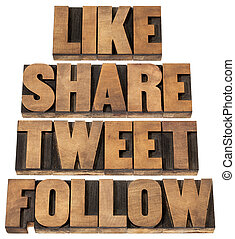 like, share, tweet, follow words - social media concept - isolated text in vintage letterpress wood type printing blocks