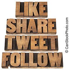 like, share, tweet, follow words - social media concept - ...