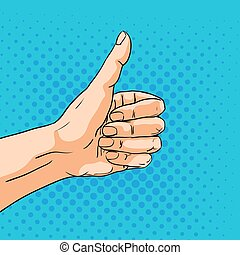 Like sign gesture. Vector hand in pop art comic style