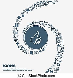 Like sign icon. Thumb up symbol. Hand finger-up in the center. Around the many beautiful symbols twisted in a spiral. You can use each separately for your design. Vector